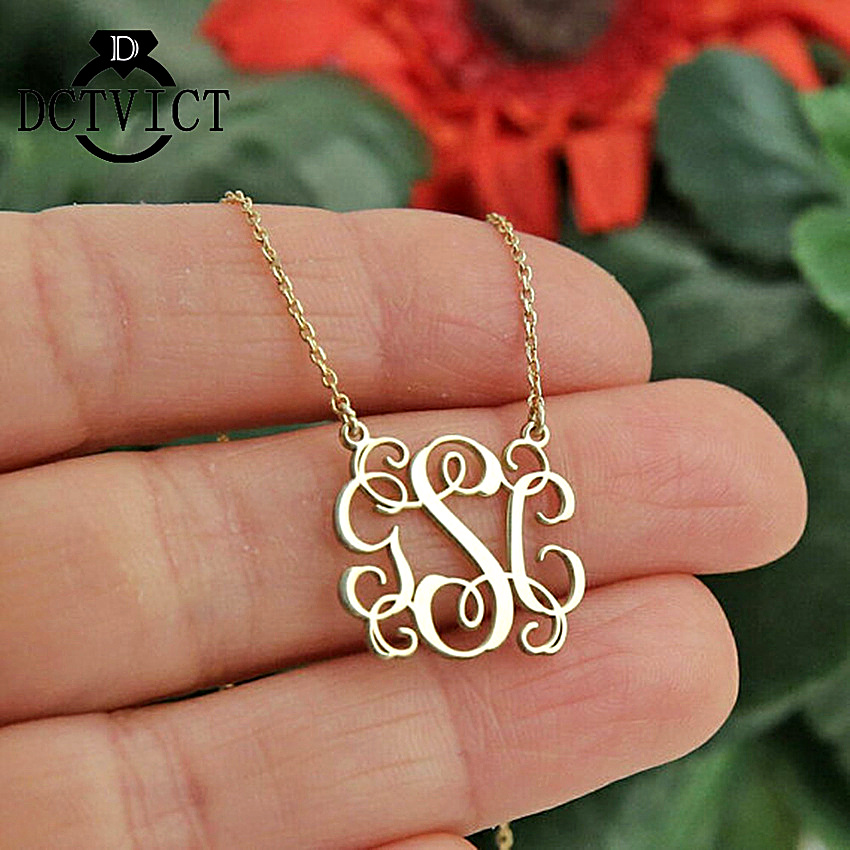 GORGEOUS TALE Personalized Monogram Necklace Stainless Steel Custom Initials Pendant For Women Customized Jewelry