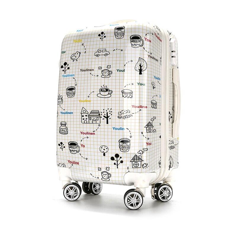 KUNDUI 2016 New men suitcase fashion cartoon women universal wheels travel trolley bags rolling luggage bag valiz 20 24 inch