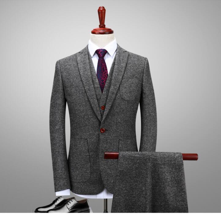 2017 Latest Coat Pant Designs Winter Smoking Grey Tweed Men Suit Groom Wedding Suits Slim Fit 3 Piece Tuxedo Custom Blazer Terno