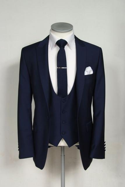 TIAN QIONG Men Suit Jackets Pants Vest 2018 Fashion Man Suit Slim Blue Plaid Two Button