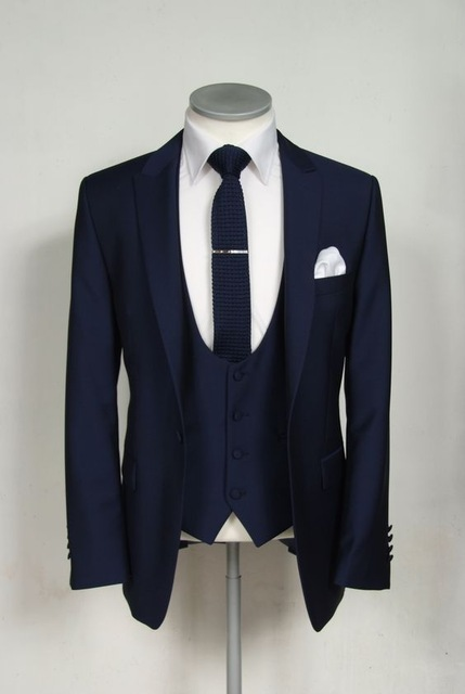 Business Custom Made Marineblauw Mannen Pak mannen Klassieke Bruidegom Smoking Blazer Mannen Prom Mens suits Bruidegom (Jasje + broek + Vest + Tie)-in Pakken van Mannenkleding op AliExpress - 11.11_Dubbel 11Vrijgezellendag 1