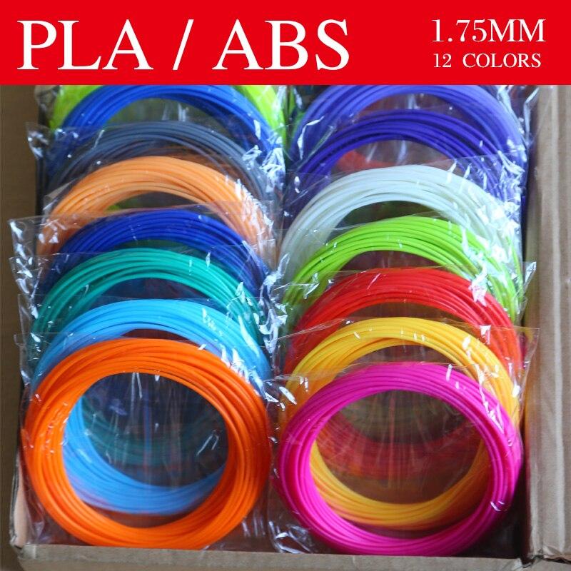 3D Pen 3d Printer Pen Material 3d Pen Thread ABS / PLA Filament 1.75mm 12colors 36 Meter Bright Color Plastic For 3D Pens,