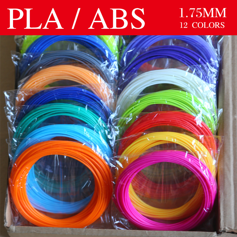 3D stift 3d drucker stift Material 3d stift Gewinde ABS/PLA filament 1,75mm 12 farben 36 meter Helle farbe kunststoff Für 3D stifte,
