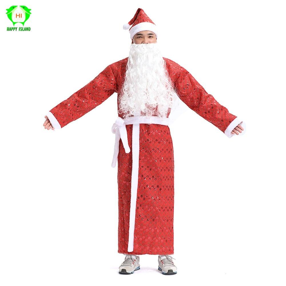 Новый стиль русские мужские рождественские костюмы Санта Клауса 5 в 1 комплект красный Рождественский карнавальный костюм женский Рождеств