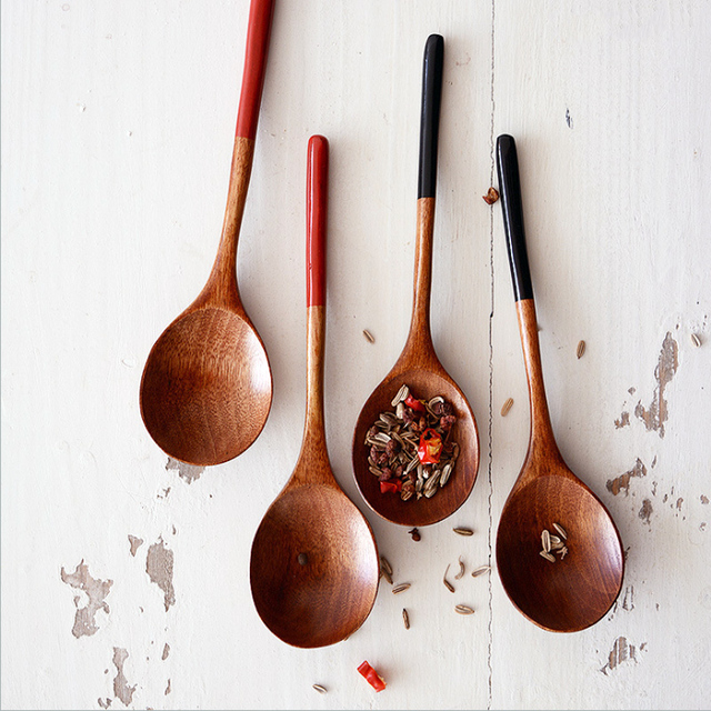Kitchen Wooden Utensils Home Depot Storage Cabinets 2pcs Spoons Japanese Soup Dessert Spoon Small Wood Coffee Teaspoon Kids Ice Cream Tableware