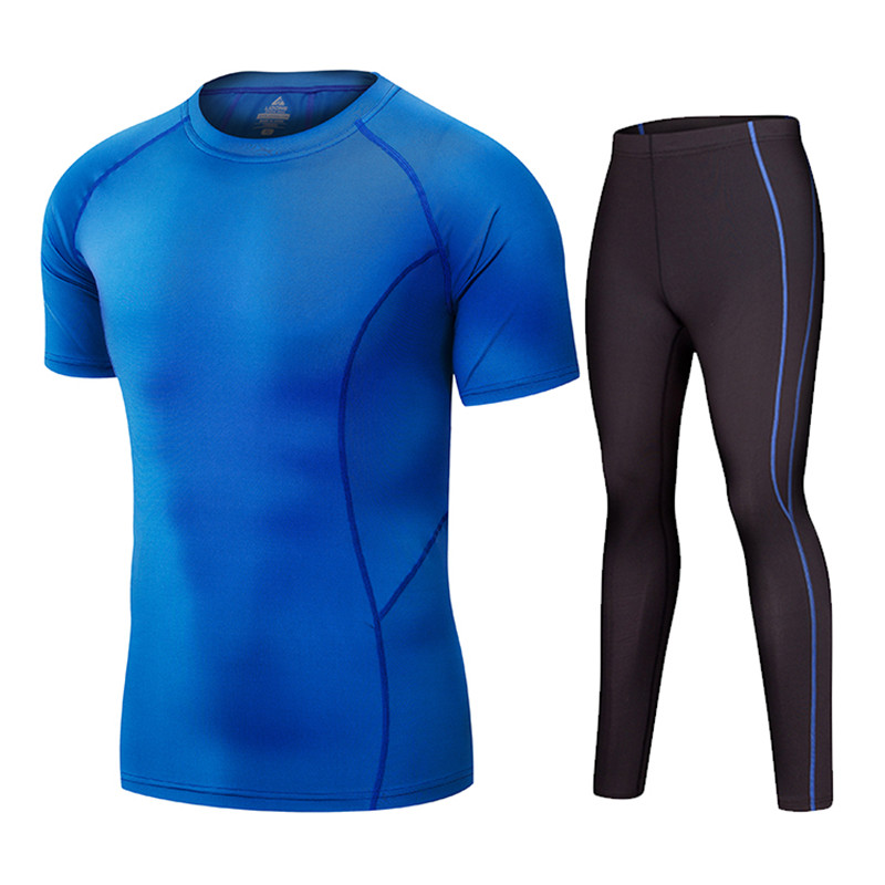 New Short Sleeve Compression Tracksuit Fitness Tight Running Set T-shirt Legging Mens Sportswear Gym Sport Suit