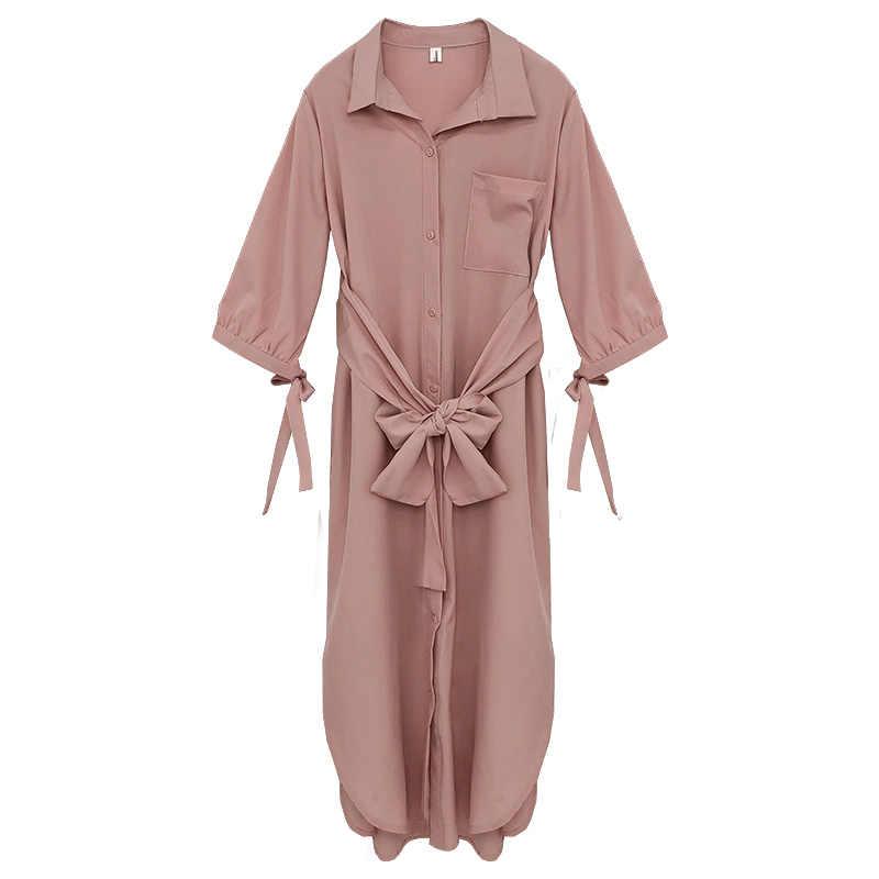 2019 女性新韓国語バージョンスリムファッション野生のシャツドレス女性の気質エレガントなシングルブレストカーディガンドレスとベルト