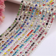2yard SS6 2/3mm Rhinestone Crystal Cup Chain Mixed Color Silver Metal Base Densify Claw Sewing fit Clothes Phone DIY Accessories