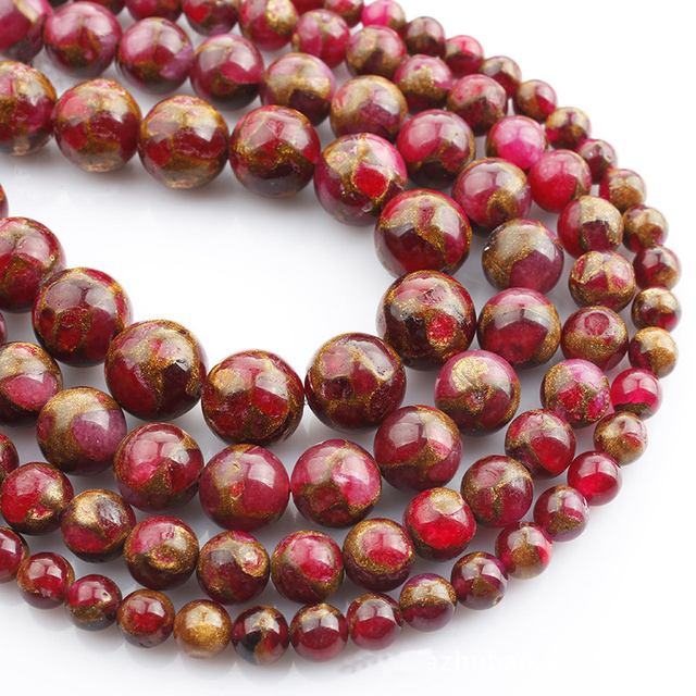 Piedra Natural rosa roja cuentas redondas 6 8 10 12mm Diy pulsera collar accesorios cuentas sueltas para hacer joyas HK172