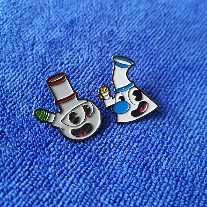 Anime crachás pipead cuphead mashup broches conjunto