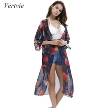 ddaca10dff Vertvie 2018 New Arrival Summer Sunproof Cardigan Women Floral Printed Chiffon  Bikini Cover Up Beach Kimonos