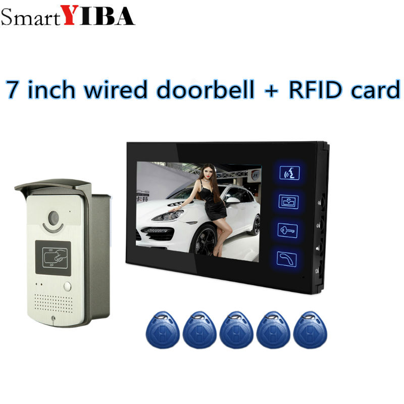 SmartYIBA 7 inch Wired Video Doorbell Intercom System With 7'LCD IR CMOS Camera Night Vision Video Intercom DIY Kit 7 inch screen indoor unit wired video intercom doorbell villa unlocking access control rain with night vision