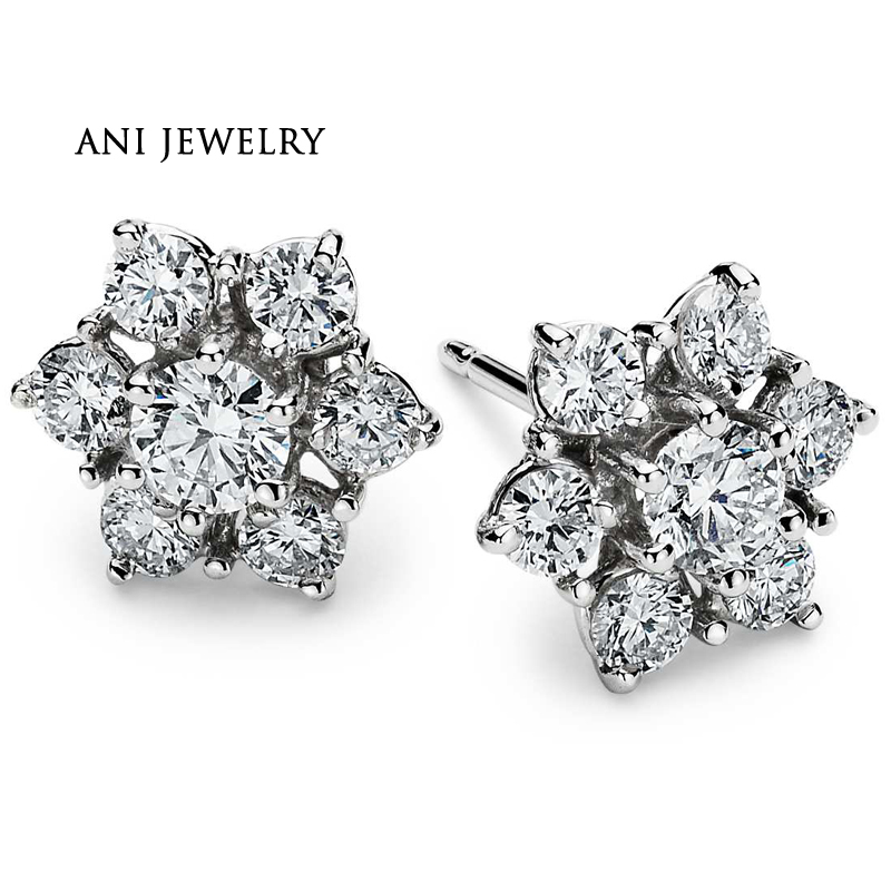 ANI 18K White Gold (AU750) Women Wedding Stud Earrings 1.5 CT Certified SI Natural Diamond Earrings Lady Engagement aretes ani 18k yellow gold au750 women coral stud earrings natural pink coral flowers fashion lady engagement stud earrings aretes