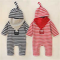 Baby Girl Clothes Newborn Boys Romper 2017 Autumn Cute Owl Jump Suit 3Pcs Romper Hat Bibs
