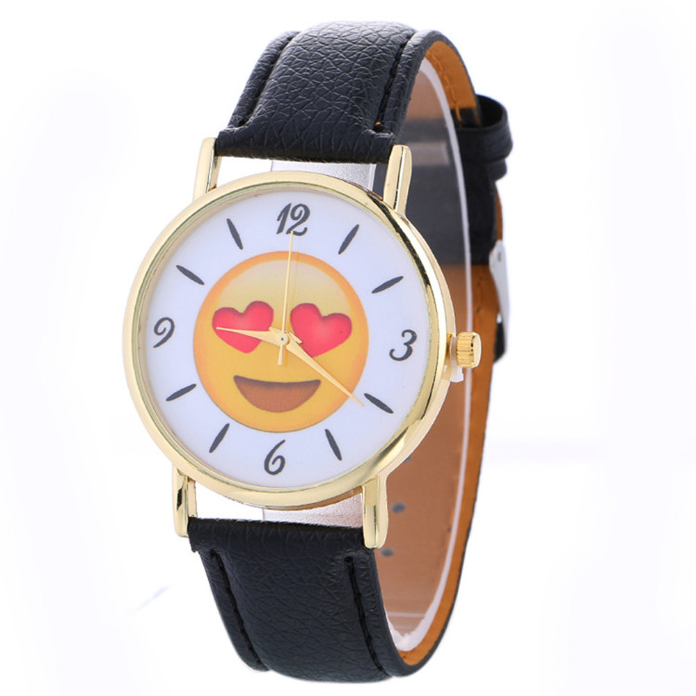 2018 New Women watches Cute Emoji Fashion Casual Quartz watch Female Clock PU Leather Wrist watch relogio feminino Drop Shipping vansvar brand fashion casual relogio feminino vintage leather women quartz wrist watch gift clock drop shipping 1903
