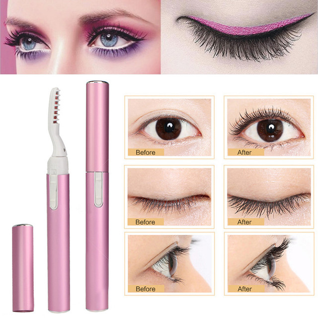Drop Ship Portable Pink Purple Electric Perm Heated Eyelash Curler Pen Style Long Eye Lash Curler Makeup Curling Kit for Women 1