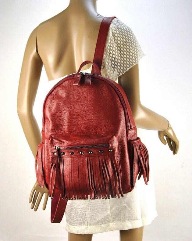 Women Genuine Real Leather Backpack Tassel Fringe Punk Rock Bag Back To School Book Fashion Casual Shoulder Purse Travel Daily - 2