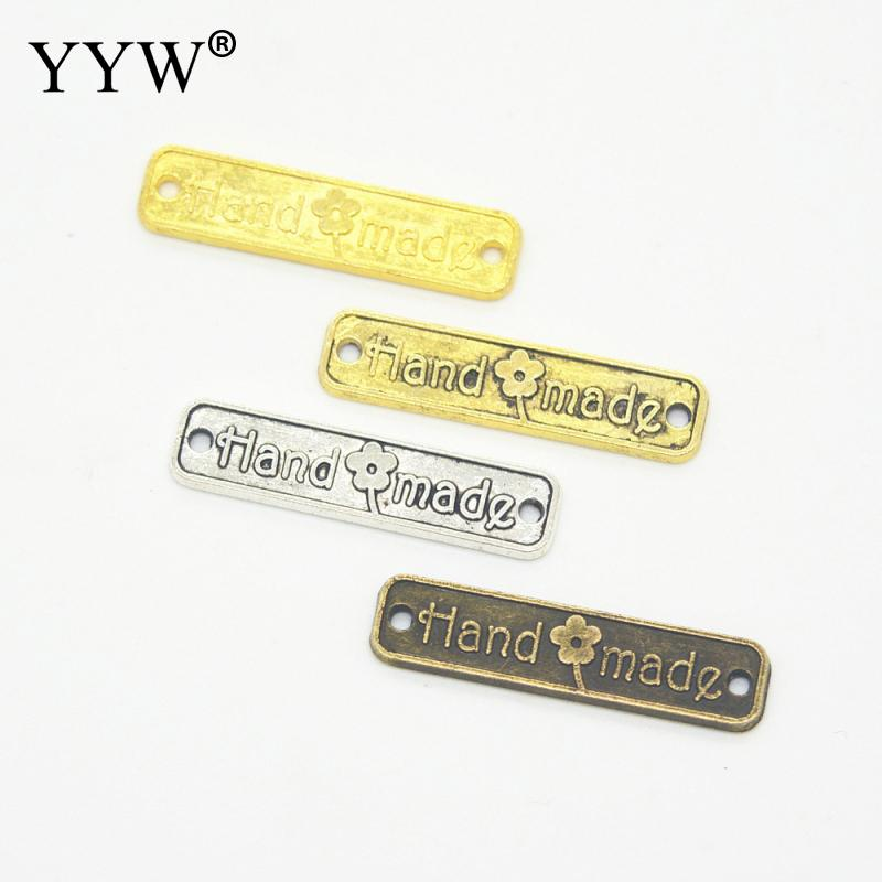 100 pcs Zinc Alloy Connector Bar Rectangle word hand made diy bracelet jewelry antique b ...