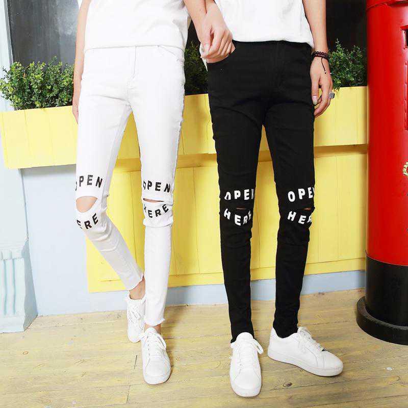 #1919 White/Black jeans men Ripped jeans for men Fashion slim fit jeans Casual Skinny Mens designer jeans Distressed Hip hop