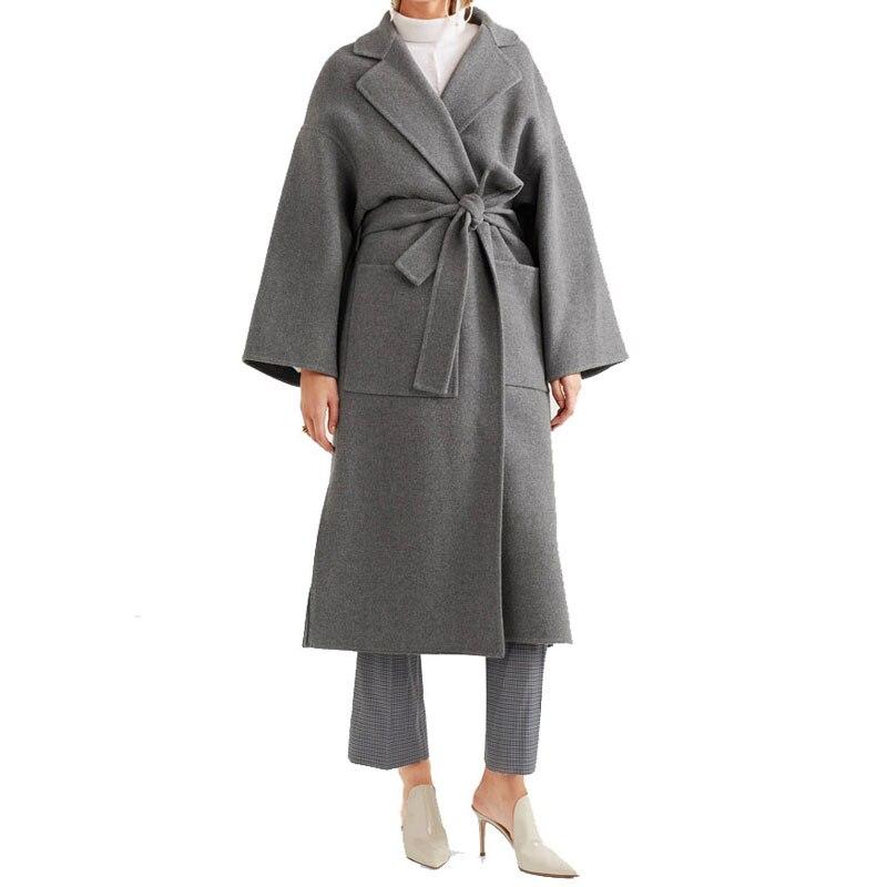 Autumn Winter Oversize Women Coat 2017 Gray Vintage Long Slim Split Female Overcoat Holiday Belt Chic Elegant   Trench   Outerwear