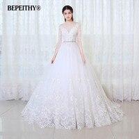 BEPEITHY бальное платье принцессы Свадебное платье с длинными рукавами с поясом Vestido De Novia 2019 кружевное винтажное свадебное платье невесты