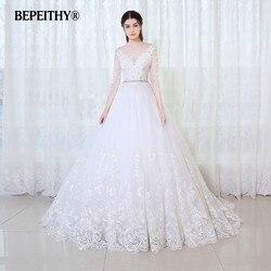 BEPEITHY Ballkleid Prinzessin Hochzeit Kleid Volle Ärmel Mit Gürtel Vestido De Novia 2020 Spitze Vintage Brautkleider Casamento