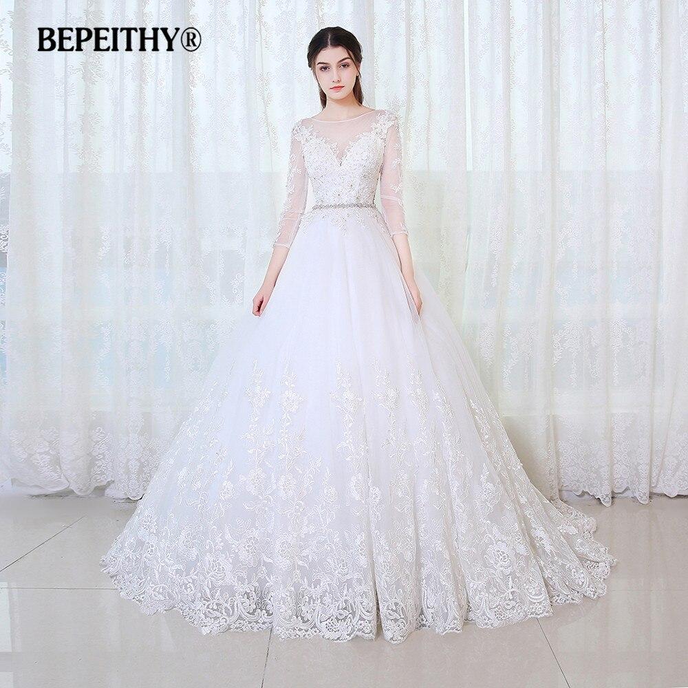 Bepeithy vestido de baile princesa vestido de casamento mangas completas com cinto vestido novia 2019 laço do vintage vestidos de noiva casamento
