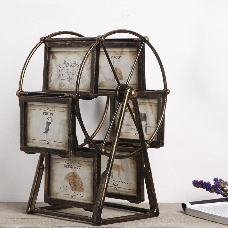 Retro rueda de marco de fotos con 4 pulgadas o 5 pulgadas Foto carrusel foto marco creativo habitación vino gabinete de decoración del hogar