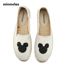 Minmclas Summer Embroidery Espadrilles Comfortable Ladies Womens Casual Shoes Breathable Flax Hemp Canvas for Girls