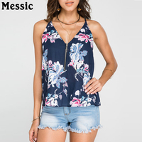 XL Women Summer Print Sleeveless Vest Shirt Tank Tops Female Ladies Stylish Floral Print V Neck