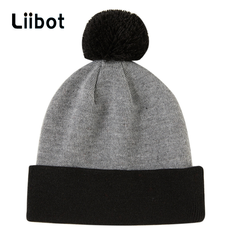 Winter Knitted   Skullies     Beanies   Warm Women Brand 2019 New Solid Gorras Bonnet Knitted Hats Ladies Fashion Real Fur Pom Poms Caps
