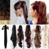 2016 Sexy Women Claw on Ponytail Clip in Pony Tail Hair Extensions one Piece Straight Style Fashion Hairpiece Black Brown Blonde