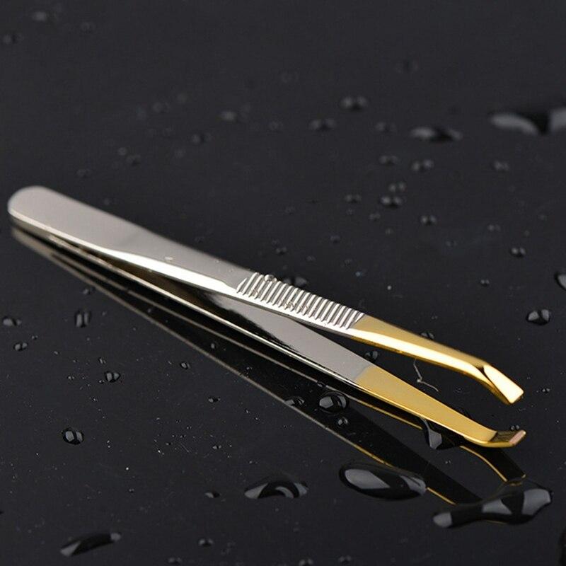 Профессиональный Черный пинцет для бровей Красота волос скошенный Нержавеющаясталь J