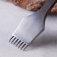 Leather Tool Steel 2/7 Prong Craft Chisel Tools Hole Piercing Hole Punch Tool Kit Pricking Iron Punching 3mm/4mm Hole Spacing