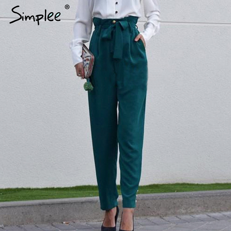 Simplee Elegant Buttons Women Pencil Pants Bow Tie High Waist Streetwear Female Pant Casual Solid Office Ladies Trousers 2019