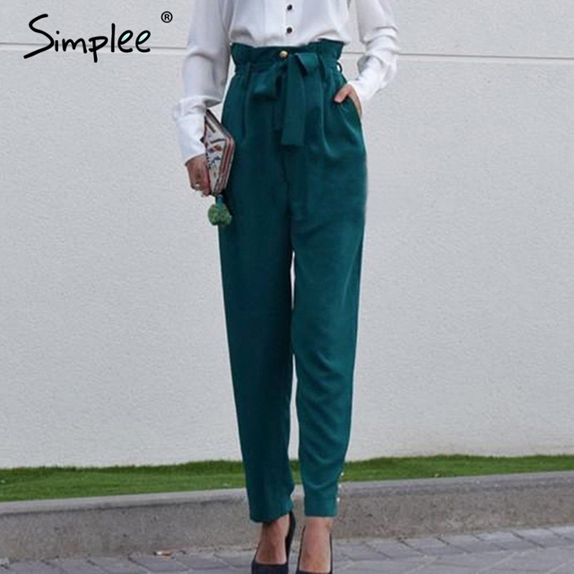 95b232c7ab Simplee Elegant buttons women pencil pants Bow tie high waist streetwear  female pant Casual solid office ladies trousers 2019