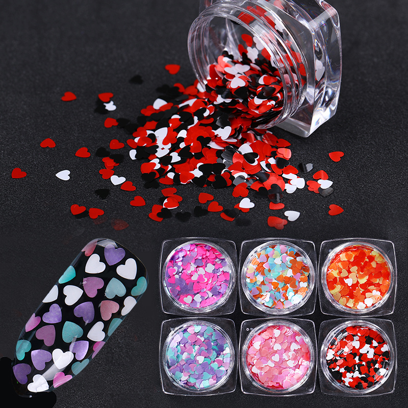 1 Box Round Nail Sequins Mixed Size Heart Shape Nail Sequin Flakes Multi-color Paillette Manicure Nail Art Decoration 27 Colors
