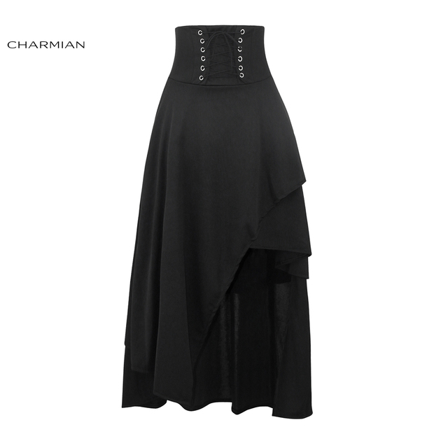 Чармиан Для женщин черный стимпанк длинная юбка на шнуровке Высокая Талия Средневековый Ренессанс Асимметричная юбка с молнией Saias