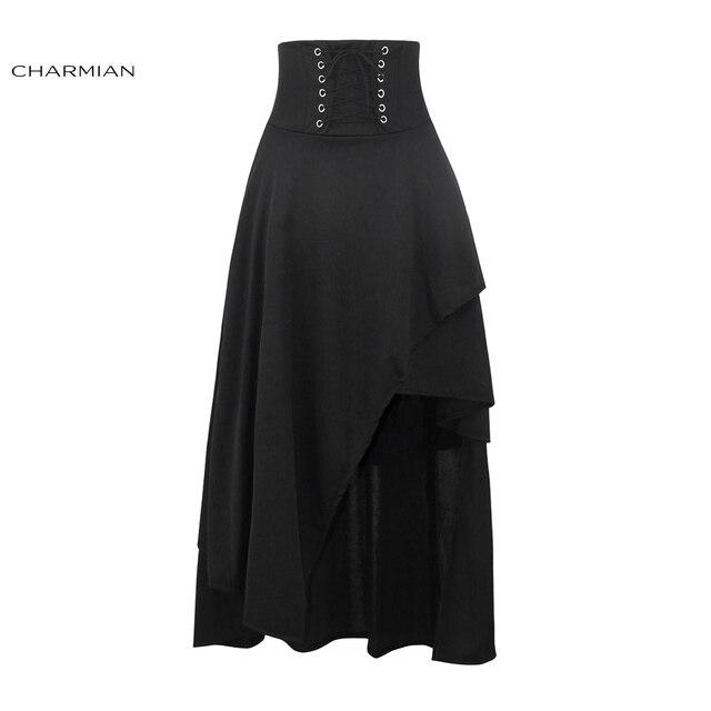 designer fashion e0a12 ef086 US $17.75 34% di SCONTO Charmian Nero Steampunk Gonna Lunga delle Donne  Lace Up A Vita Alta Medievale Rinascimentale Asimmetrico Gonna con Cerniera  ...