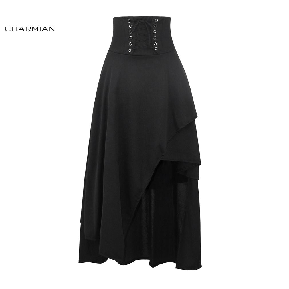 Charmian Women's Black Steampunk Long Skirt Lace Up High Waist Medieval Renaissance Asymmetrical Skirt with Zipper Saias