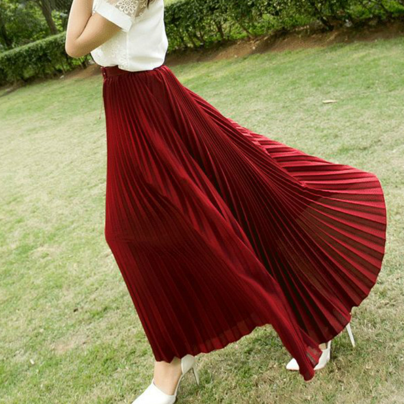 2017 Summer New Fshion faldas Korean Style Big Swing Maxi Sukně Womens Summer Jupe High Pas Adult Long Chiffon tyl sukně