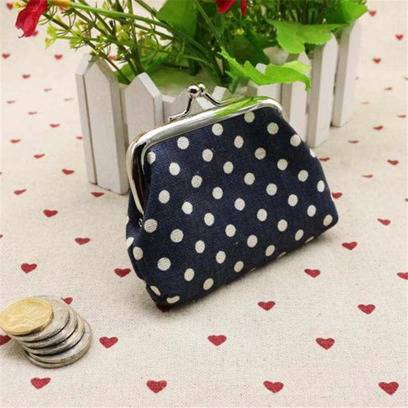 2018 Women Coin Purse Cute Dot Printing Ladies Small Purse Coin Two Metal Button Pocket Coin Pouch Key Credit Card Holder Bag