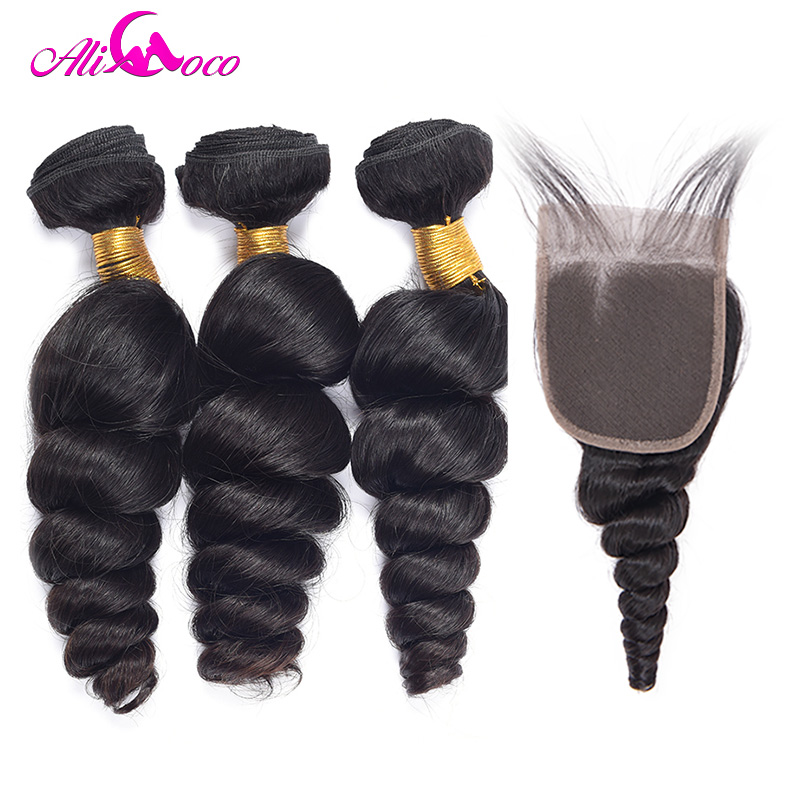 Ali Coco Brazilian Hair Weave Bundles with Closure 100% Human Hair Weave Bundles with Baby Hair Closure Non Remy Hair Extensions