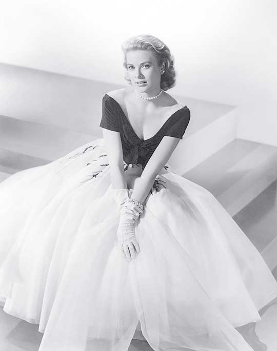 Vintage 50\'s Off Shoulder Tea Length Grace Kelly of Monaco White and Black Formal Evening Dress (1)