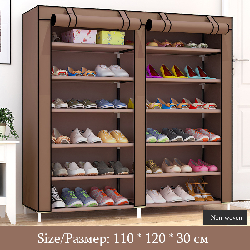 Image 4 - Solid Color Double Rows High Quality Shoes Cabinet Shoes Rack Large Capacity Shoes Storage Organizer Shelves DIY Home Furniture-in Shoe Cabinets from Furniture