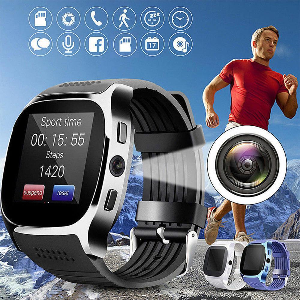 T8 bluetooth relógio inteligente com câmera facebook whatsapp apoio sim tf cartão chamada esportes smartwatch para android telefone pk q18 dz09
