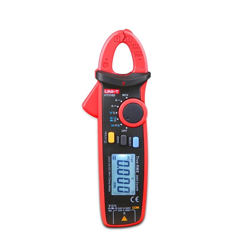 UNI-T Mini Digital Clamp Meter UT210D Ture RMS Auto Range Capacitance  Multimeters Megohmmeter Temperature Multitester China bm5268 measuring 10 000 microfarads capacitance temperature digital clamp meter