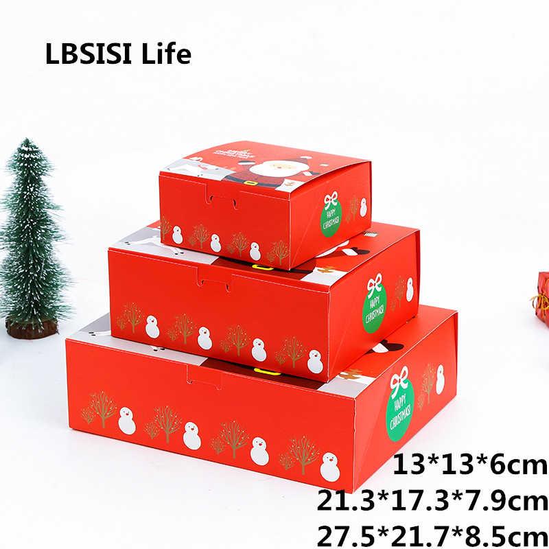 Lbالسيسي الحياة هدية الكريسماس صندوق ورقة سانتا كلوز ثلج الحلوى كوكي عيد الميلاد الديكور حقيبة اليد حزمة صناديق مجموعة واحدة