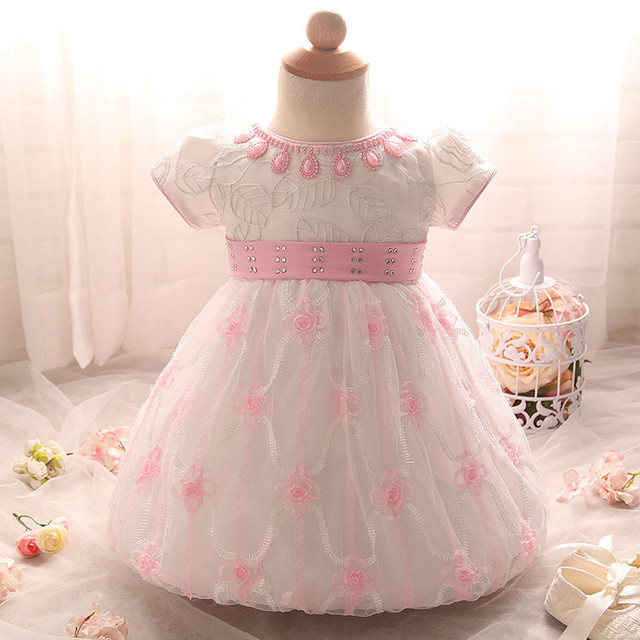 Cute Newborn Banquet Birthday Dresses Baby Formal Party Beading Floral Gown Dress O-Neck Toddler Tutu Christening Ball Gown Pink