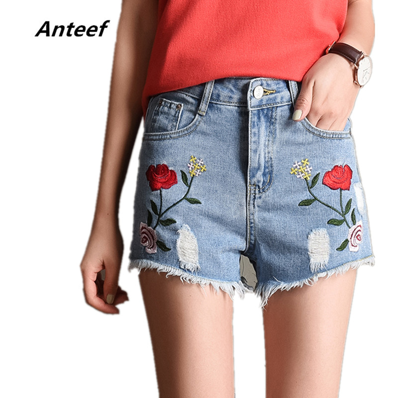 new fashion cotton   2017 Summer Women Shorts rose Embroidery Casual Denim Short jeans
